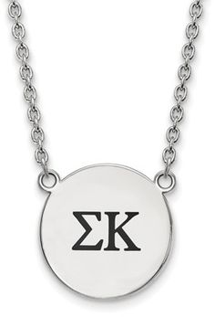 Sterling Silver LogoArt Official Licensed Greek Sororities Alpha Epsilon Phi Small Enamel Pendant w/Necklace, Women's, Size: Width: 18 mm Length: 18 mm Disc Necklace, Pendant Necklace, Alpha Chi Omega, Alpha Gamma, Sigma Kappa, William And Mary, Rose Jewelry, Oklahoma, Sterling Silver Jewelry