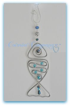 Sun Catchers, Sun Jewels, Fish Suncatcher , Silver, Wire suncatchers, Glass Beads, Sun-catchers