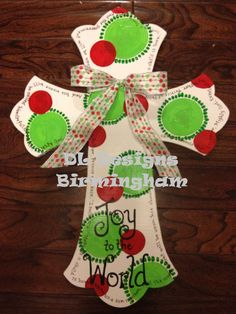 Christmas Cross Joy to the World door hanger or wall decor via Etsy