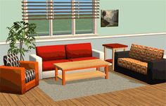 A small but very versatile living room set with mix and matchable colors and patterns.