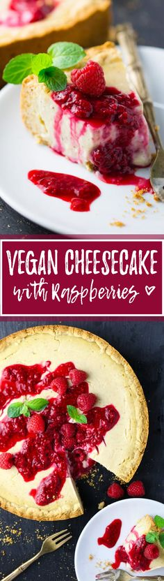 This vegan cheesecake with raspberries is my all-time favorite cake. The recipe couldn't be easier and it's so incredibly delicious. No dairy needed! <3 | veganheaven.org