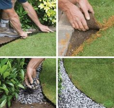 10 Lawn Edging Techniques Great For DIY Landscaping 10 Lawn Edging T Landscape Edging, Garden Edging, Lawn And Garden, Small Backyard Gardens, Outdoor Gardens, Lawn Edging Bricks, Decorative Gravel, Brick Patios, Raised Garden Beds