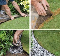 10 Lawn Edging Techniques Great For DIY Landscaping 10 Lawn Edging T Landscape Edging, Garden Edging, Lawn And Garden, Porch Garden, Garden Plants, Small Backyard Gardens, Outdoor Gardens, Lawn Edging Bricks, Decorative Gravel