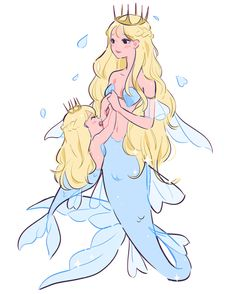 """""""Everything for you my dear"""" mom and baby mermaid. Happy belated mother's day Fantasy Mermaids, Mermaids And Mermen, Mermaid Drawings, Mermaid Art, Fantasy Drawings, Fantasy Art, Cartoon Art, Cartoon Drawings, Mermaid Pictures"""