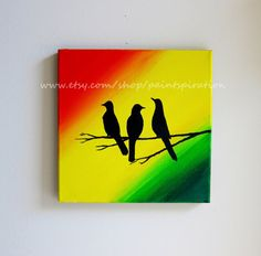 Bob Marley Three Little Birds Original Painting - Square Art 12x12 Canvas Wall Hanging - Every Little Thing Is Gonna Be Alright Artwork