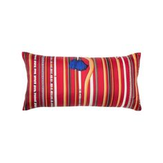 """Unique luxury silk Hermès pillow scarf w/ """"Les Cannes"""" by Virginie Jamin. Shop Modern Luxe Gifts for Him & Masculine Home Decor at Tribute Goods in Houston. Hermes Pillow, Masculine Home Decor, Hermes Home, Classic Cushions, Linen Company, Hermes Orange, Red And Blue, Orange Red, Silk Pillow"""