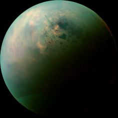 "Titan. Mosaic of near-infrared images from Cassini, showing lakes on Titan's north pole. They are the dark splotches and speckles scattered around the pole. Titan's lakes are filled with liquid methane and ethane, organic compounds which are gases on Earth but liquids on cold Titan (-180º C). (Credit: (NASA/JPL-Caltech/SSI) ) Mona Evans, ""10 Amazing Facts about Saturn's Moons"" http://www.bellaonline.com/articles/art28136.asp"