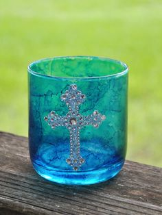 Blue hand painted glass candle holder with silver cross by JG Studios