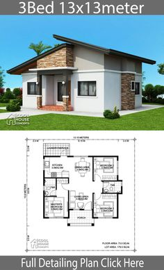 Home design Plan with 3 bedrooms - Home Design with Plansearch Office houses design plans exterior design exterior design houses home architecture house design houses Sims House Plans, House Layout Plans, New House Plans, Dream House Plans, House Layouts, Modern Bungalow House, Bungalow House Plans, Simple House Design, Modern House Design