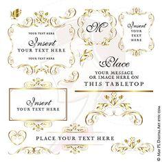 Gold Frame Wedding Digital Clipart DIY Program Invitation Craft Cards Vintage Graphics Scrapbooking Cardmaking Supply Instant Download 10607 #DigitalClipart #GoldFrames