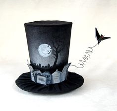Tiny Top Hat: The Graveyard - Lolita Cosplay Costume Party Fascinator Photo Photography Prop Wedding Tophat Small Mini Miniature. $40.00, via Etsy.