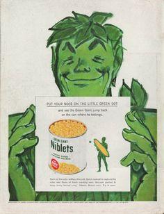 "Description: 1960 GREEN GIANT vintage magazine advertisement ""the little green dot"" -- haha i love this"