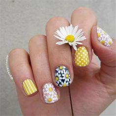 Sunflower Nail Art, Daisy Nail Art, Daisy Nails, Floral Nail Art, Rose Nails, Pink Nails, Gel Nails, Acrylic Nails, Elegant Nails