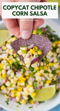 This Copycat Chipotle Corn Salsa is AMAZING! So fresh and only 6 ingredients! This Copycat Chipotle Corn Salsa is AMAZING! So fresh and only 6 ingredients! Mexican Food Recipes, Vegetarian Recipes, Cooking Recipes, Healthy Recipes, Healthy Rice, Cooking Rice, Clean Eating Recipes, Healthy Meals, Healthy Food