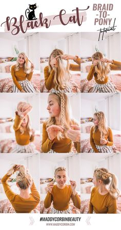 3 Easy Fall Hairstyles — Maddy Corbin Black Cat Braid-To-Pony VIA 3 Fall Hairstyles on MaddyCorbin. Nurse Hairstyles, Work Hairstyles, Pretty Hairstyles, Teenage Hairstyles, Hairstyles Videos, French Braid Hairstyles, Braided Hairstyles For Wedding, Curly Hair Braids, Curly Hair Styles