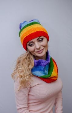 Knit rainbow hat Chunky knit hat Lgbt clothing Rainbow beanie Striped slouchy hat Knit hat women Lgb