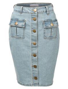Womens Vintage Button Down Denim Midi Skirt with Pockets Denim Pencil Skirt, Denim Skirt, Waisted Denim, Midi Skirt With Pockets, Calf Length Skirts, Denim Jumpsuit, Curvy Women Fashion, Outfit Combinations, Weekend Wear