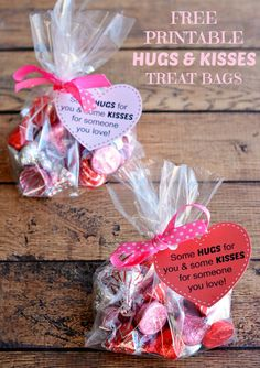 Printable Hugs and Kisses Treat Bags Craft for Valentines Day