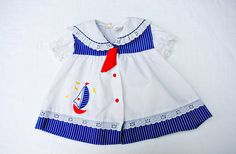 Vintage Red, White & Blue Sailing Dress, Baby Girl, 0-6 Months, Sailboat, Cradle…