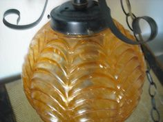 Vintage Hanging Lamp Amber Gold Sphere Glass by accentonvintage, $62.00