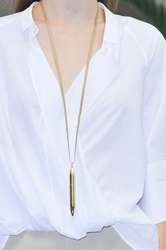 Christophe Lemaire Spring 2014 white top and gold pen necklace #minimalist #fashion #style