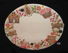 Ceramic Gingerbread Platter Made and Hand Painted by Kay D Barr