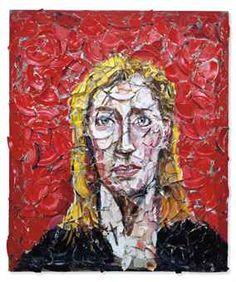 Julian Schnabel - portrait using oils on smashed plates