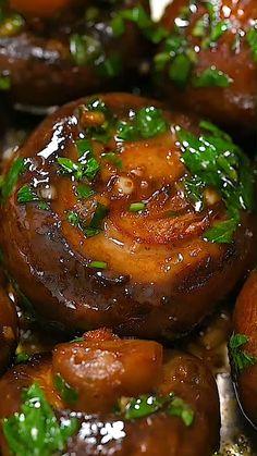 Side Dish Recipes, Vegetable Recipes, Vegetarian Recipes, Cooking Recipes, Healthy Recipes, Vegetable Salad, Garlic Mushrooms, Stuffed Mushrooms, Mushroom Dish