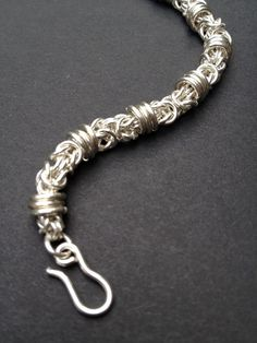 Chainmaille Sterling  Silver Tri-ring Byzantine S hook Clasp