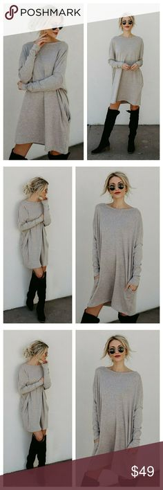 🆕️ oatmeal oversized long sleeve knit dress Oversized long sleeve knit dress with side mini pockets in oatmeal. Easy to style, super comfortable and soft, features wide neckline.  95% Rayon 5% spandex Made in USA  Model are wearing exact product. Color may vary slightly depending on lighting. Oatmeal/ light beige color.  *This item ships in 3-5 business days Dresses Long Sleeve