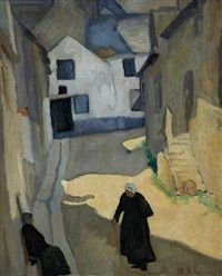 Women in a Village Street by William Auerbach Levy