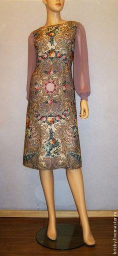 """Купить Платье из павловопосадских платков """"Тайна сердца""""(жемчужное) - бледно-сиреневый, цветочный, павловопосадские платки, жемчужный"""