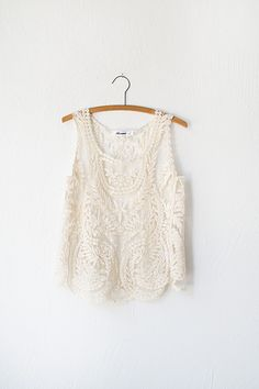 """vintage inspired off white scalloped lace tank top, """"Cathedral Lace Top"""" Vintage Clothing Online, Vintage Tops, Vintage Lace, Lace Tank, Blouse, What To Wear, Vintage Outfits, T Shirt, Cute Outfits"""