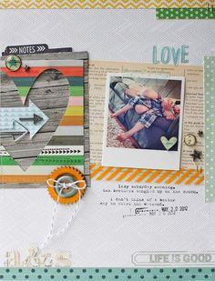 "We spotted and just love this layout Lisa Truesdell made! The ""Life is Good"" stamp is from the Favorite Story by Ali Edwards stamp set from TechniqueTuesday.com."