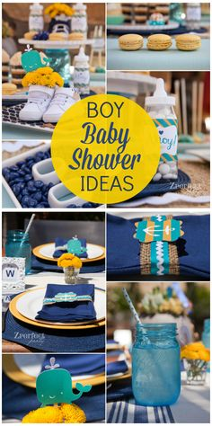 A gorgeous blue, green and yellow boy baby shower with a nautical theme! Idee Baby Shower, Fiesta Baby Shower, Shower Bebe, Boy Baby Shower Themes, Baby Shower Gender Reveal, Baby Shower Parties, Baby Boy Shower, Baby Shower Gifts, Baby Gifts