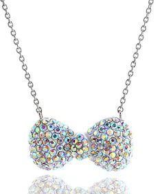 Girl Nation - White Crystal Bow Necklace - $24.00