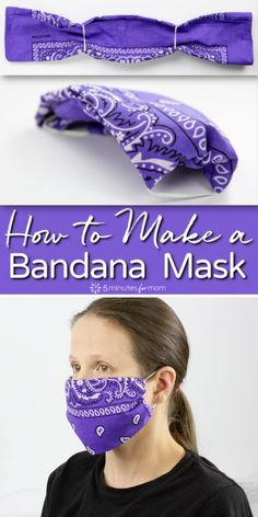 Diy Mask Discover Bandana Mask - DIY Face Mask How to make a bandana mask. It takes less than a minute to make a no-sew cloth face mask with two elastic bands and a bandana or any piece of cotton fabric such as a large square cut out of an old shirt. Easy Face Masks, Homemade Face Masks, Diy Face Mask, Diy Masque, Old Shirts, Mask Making, Sewing Hacks, Sewing Projects, Sewing Tips