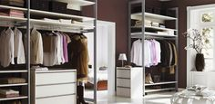 Luxurious his and her walk-in closet in deep brown and white