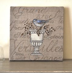 Art bird ornament mixed media. Country french farmhouse decor Shabby chic. $60.00, via Etsy.