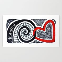 I Heart Spiral Art Print by Alohalani - $28.08