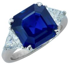 8 Carat Sapphire Diamond Platinum Ring | From a unique collection of vintage three-stone rings at https://www.1stdibs.com/jewelry/rings/three-stone-rings/
