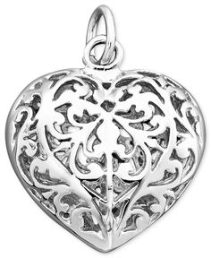 f6e9e58b6 Rembrandt Charms Sterling Silver Filigree Heart Charm & Reviews - Fashion  Jewelry - Jewelry & Watches - Macy's