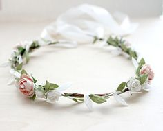 Blush Garden Rose Floral Crown Wedding Flower by rosesandlemons