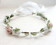 Blush Garden Rose Floral Crown Wedding Flower by rosesandlemons