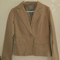 """Mix & Match SALE Jacket by BB Dakota Distressed trimmed at pocket line, arm opennings, on the lapel edges. 100% cotton, lining 100 % polyester. Sleeves  24"""", back neck to bottom 23"""", armpit left to right laying flat almost 18"""".shoulder 4"""". Will fit size 2 to 4. BB Dakota Jackets & Coats"""