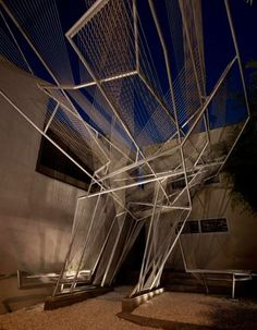 Oyler Wu Collaborative Gallery features a dramatic 25 foot cantilever of aluminum tubing and polypropylene rope.