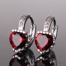 Engagement 18K White gold filled Woman favorable type hoop garnet earring