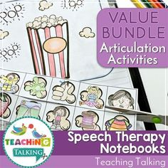 Articulation Activities for Speech and Language Therapy Notebooks Articulation Therapy, Articulation Activities, Speech Therapy Activities, Speech Language Pathology, Language Activities, Speech And Language, Interactive Notebooks, Printable Worksheets, Teaching Vocabulary