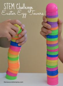 Plastic Egg #STEM challenge: Who can build the tallest free standing tower?