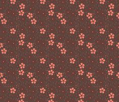 Bella Floral - brown and pink fabric by valerinick_ on Spoonflower - custom fabric